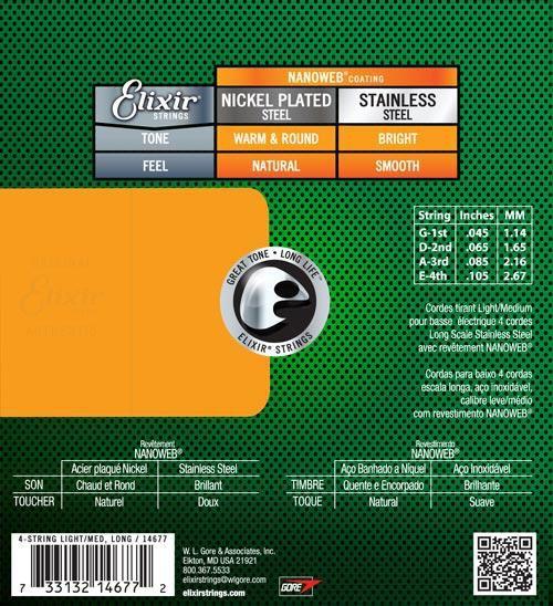 Encordoamento para Baixo 4c Elixir .045 Aço Inoxidável LIGHT/L.S - Nanoweb