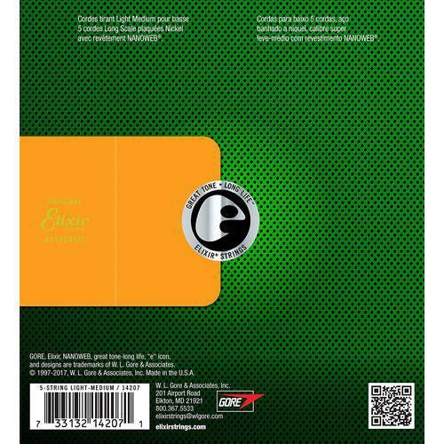 Encordoamento para Baixo 5c Elixir . 045 LIGHT/L.S  - Nanoweb