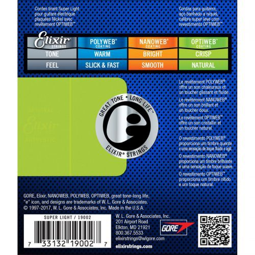 Encordoamento para Guitarra Elixir .009 CUSTOM LIGHT - OPTIWEB