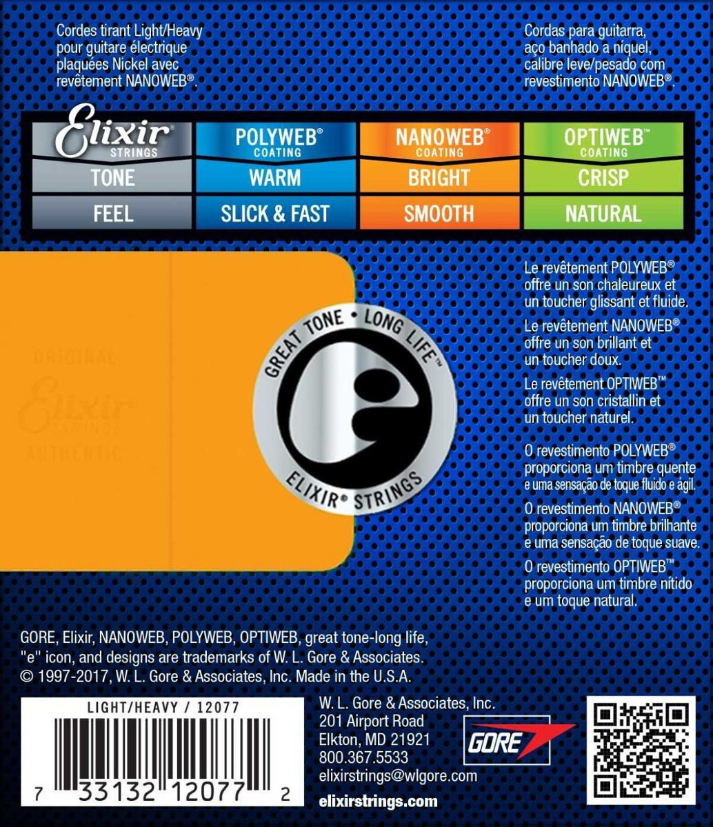 Encordoamento para Guitarra Elixir .010 LIGHT HEAVY- Nanoweb