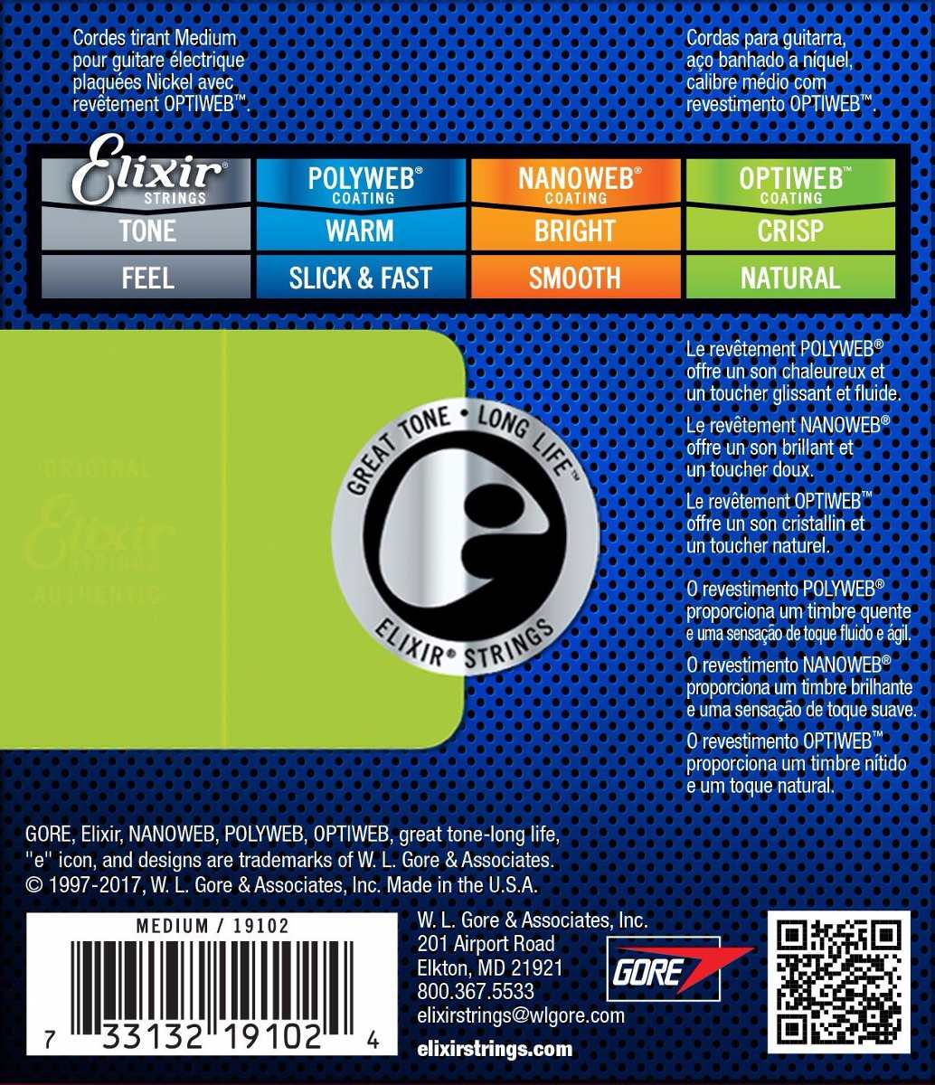 Encordoamento para Guitarra Elixir .011 MEDIUM - OPTIWEB