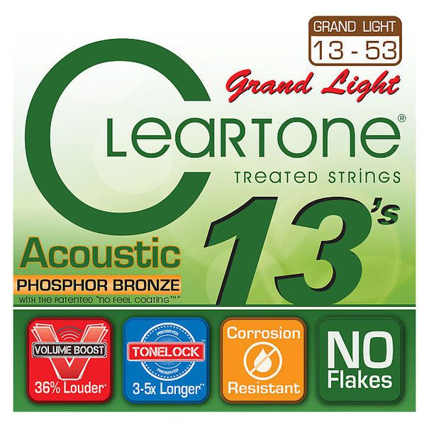 Encordoamento para Violão Aço .013 Cleartone Phosphor Bronze Grand Light