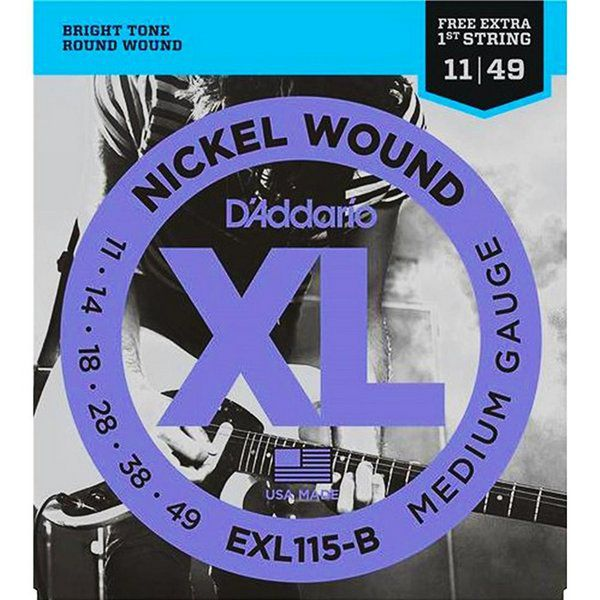 Kit 3x Mais Encordoamento D'addario para Guitarra EXL115-B MEDIUM .011/049