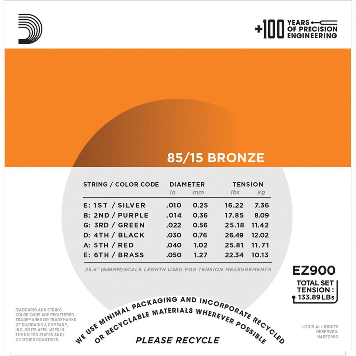 Box 3x Mais Encordoamento D'Addario para Violão Aço EZ900-B EXTRA LIGHT 10/50