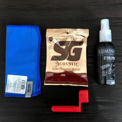 Kit Corda SG Violão 010 e Produto de Limpeza e encordoador + Flanela de Brinde