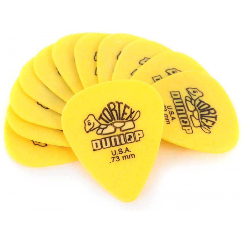Pack 10 Palhetas Dunlop Tortex 0,73MM - Amarela