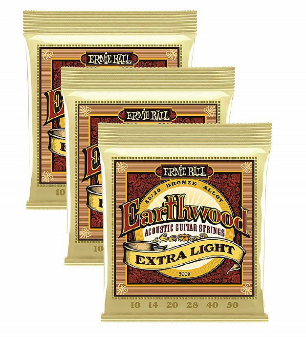 Pack 3 encordoamentos p/Violão Aço Ernie Ball Earthwood .010 Extra Light