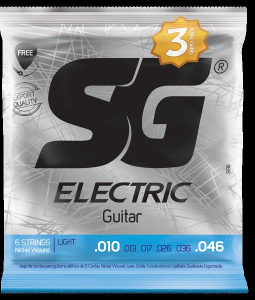 Pack c/3 Encordoamentos SG STRINGS P/Guitarra .010 NIQUEL 5198TP