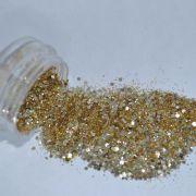Glitter Dourado Flocado Furta-Cor - Glitter Nails