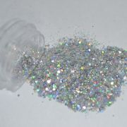 Glitter Prata Flocado Furta-Cor - Glitter Nails