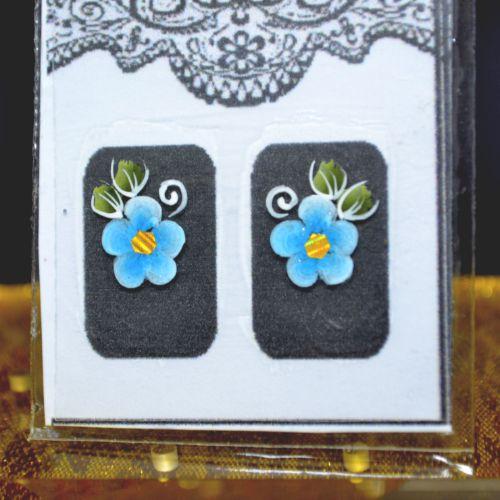 Adesivo Artesanal Filha Única Flor Azul - Mundo das Unhas by Suzana Depes