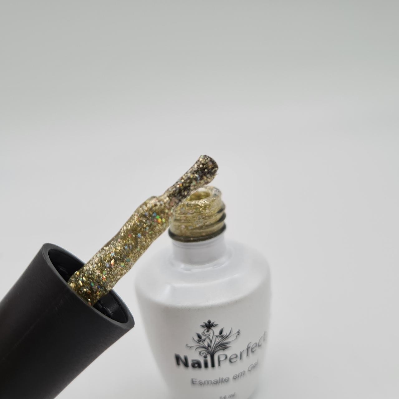 Esmalte com Glitter Dourado Nail Perfect - 14ml