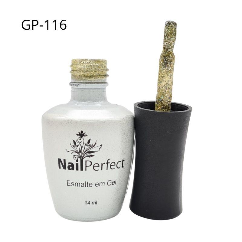 ESMALTE EM GEL NAIL PERFECT GLITTER DOURADO - REF.GP-116