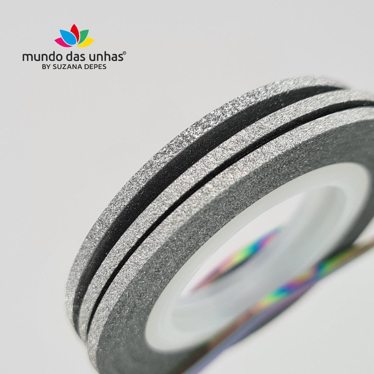Fitilho com Glitter Prata - M