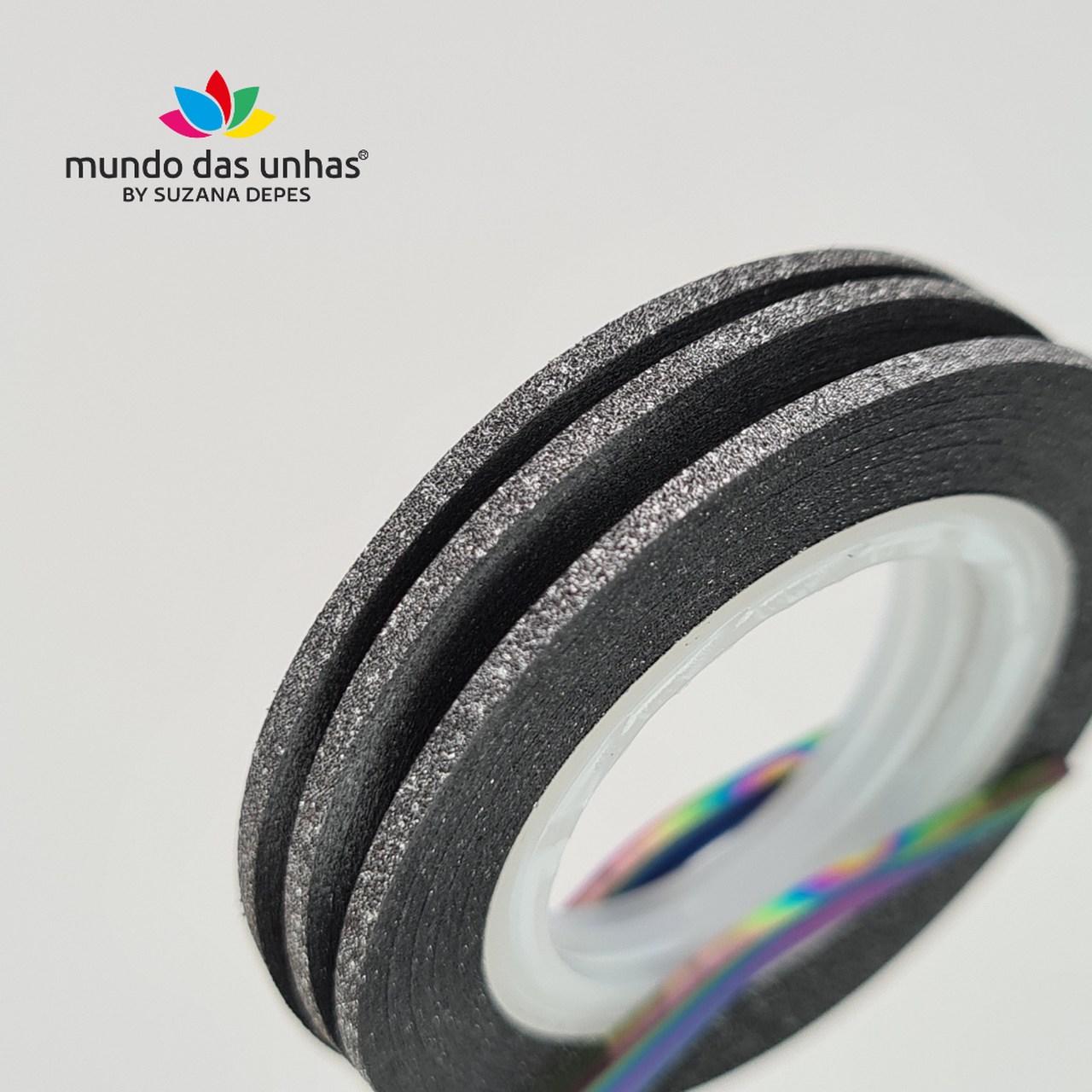 Fitilho com Glitter Preto - M
