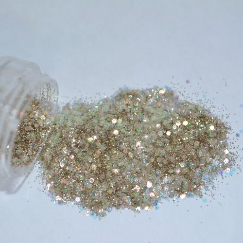 Glitter Champagne Furta-Cor Flocado - Glitter Nails