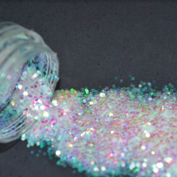 Glitter Branco Furta-cor Flocado - Glitter Blendz