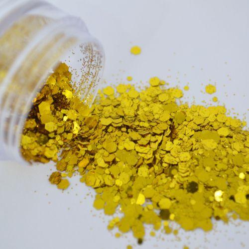Glitter Amarelo Flocado - Glitter Blendz