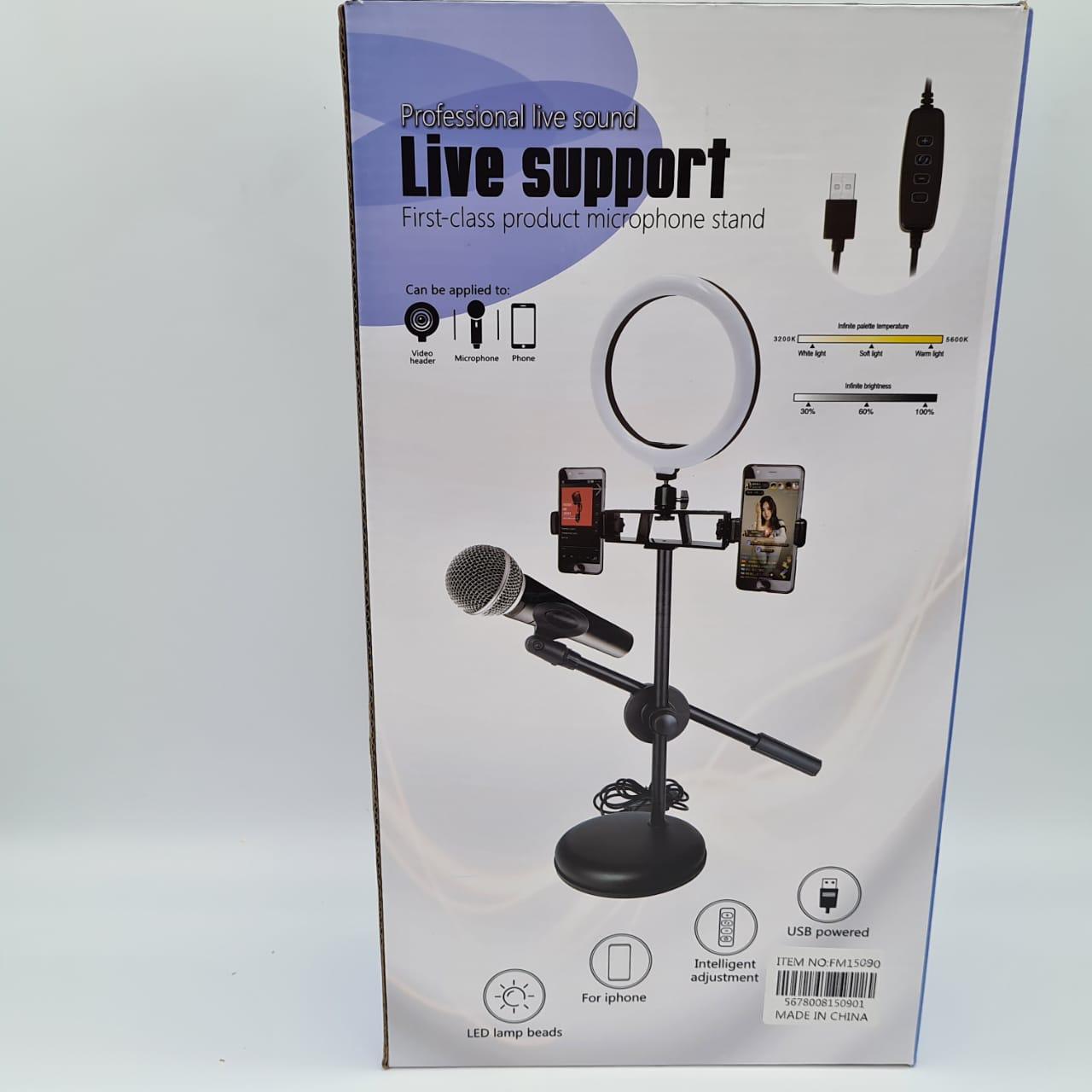 Ring Light Led Tripé Com Suporte 2 Celulares E Microfone