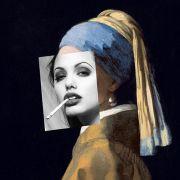 ANGELINA com o brinco de pérola - Quadro decorativo em canvas