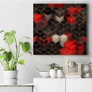 Cubes in red - quadro decór feito no tecido canvas