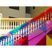 Quadro decorativo em canvas escada colorida
