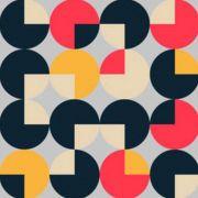Quadro decorativo em tecido canvas - Círculo geométricos