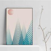Quadro, pinheiros - decorativo no tecido canvas