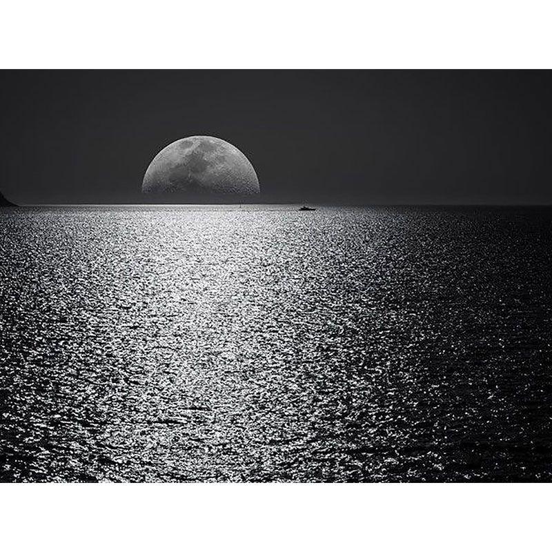 Mar e Lua - Quadro decorativo em canvas