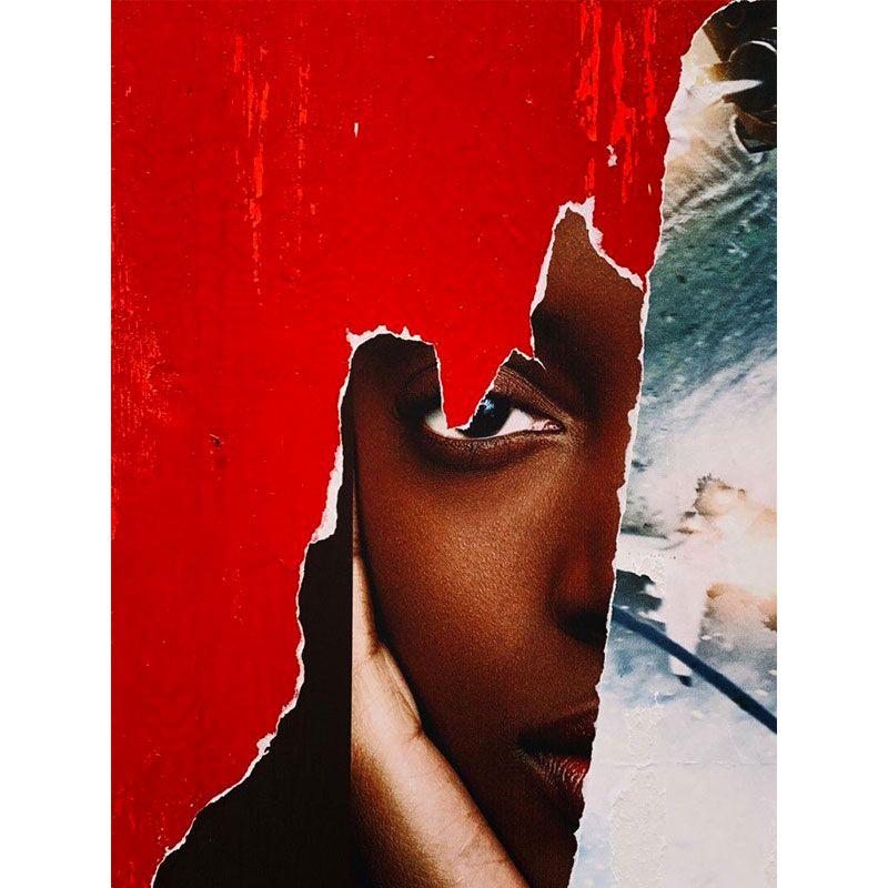 Olhar em vermelho - Quadro decorativo em canvas