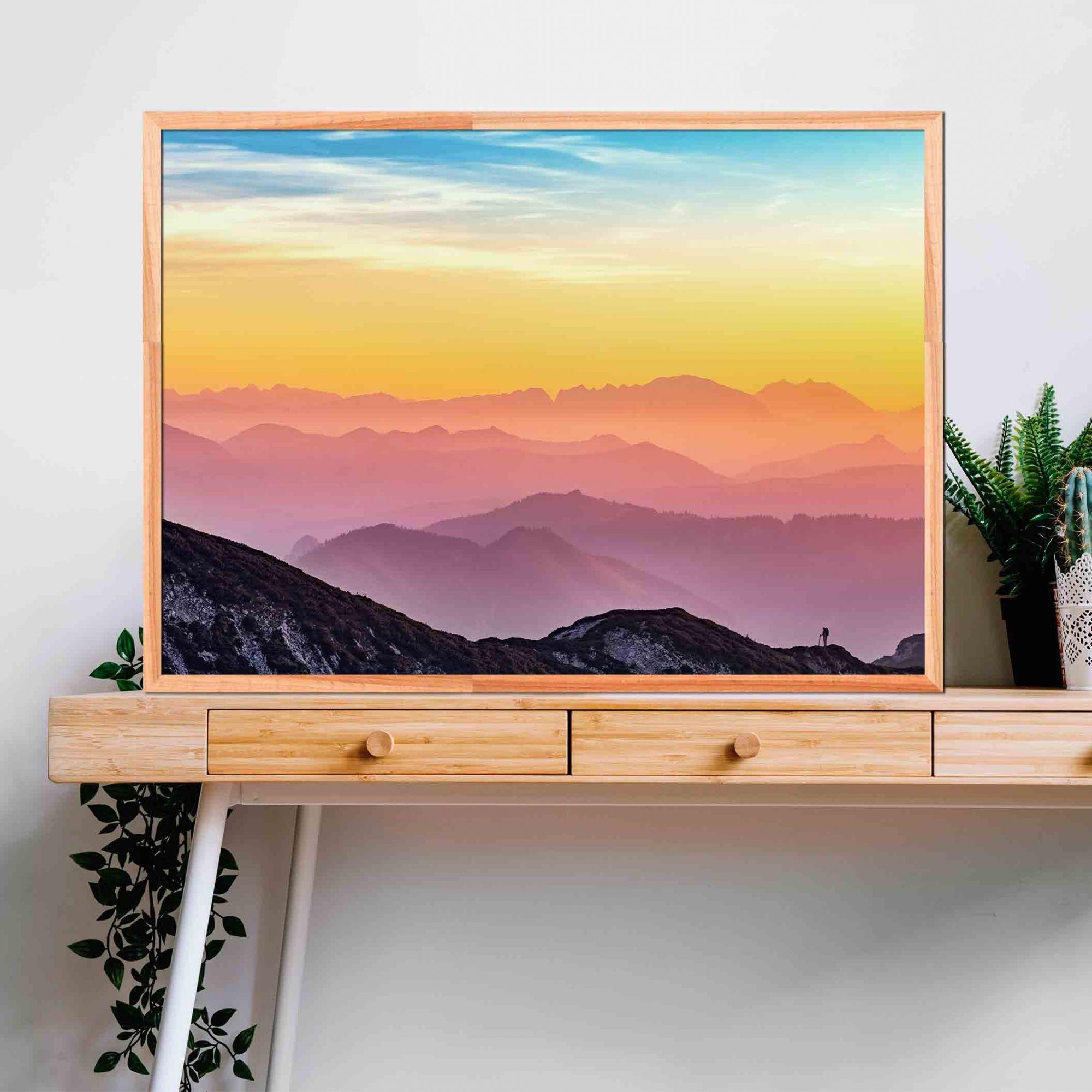 Quadro decorativo em canvas céu colorido