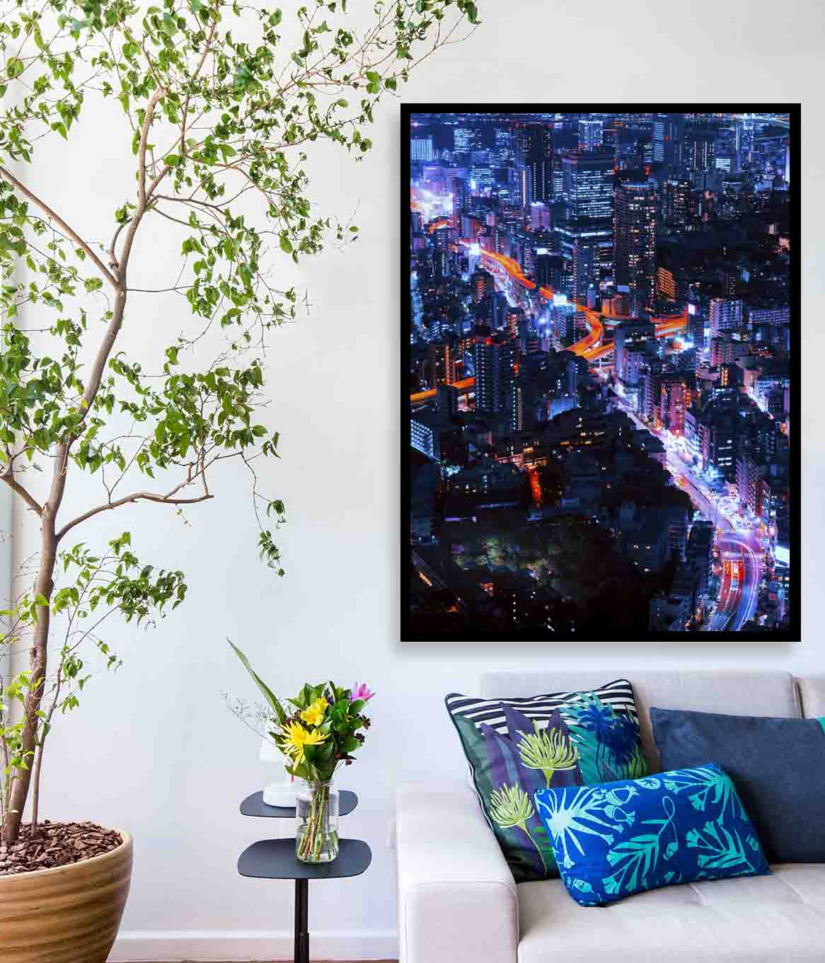 Quadro decorativo em canvas luzes urbanas