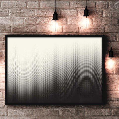 Quadro, ondas p&b feito no tecido canvas