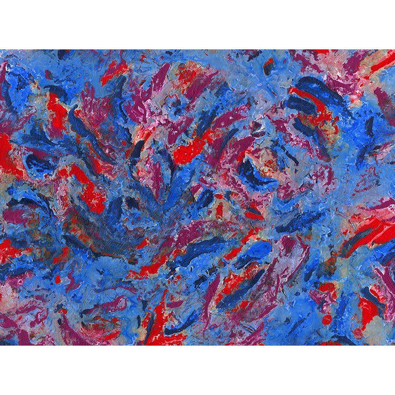 Red and blue abstrato - Quadro decorativo em canvas