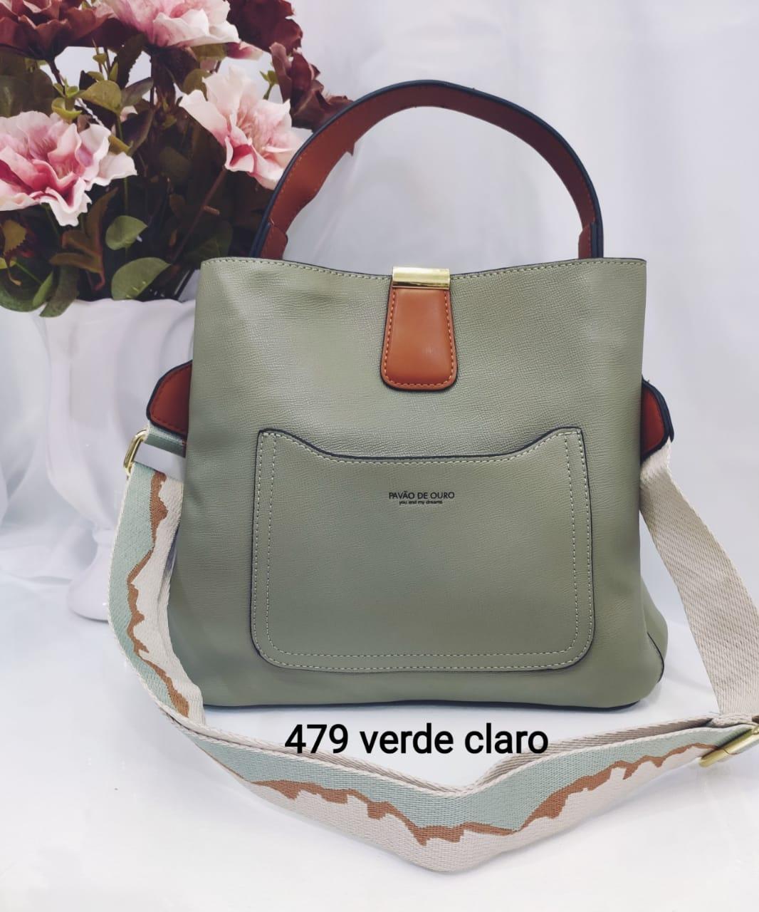 Y479 Bolsa de Ombro Pavão de Ouro Couro Sintético PU