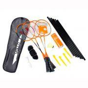Kit Badminton VOLLO 4 Raquetes 3 Petecas de Nylon Rede e Suporte VB004