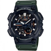 Relógio Casio AEQ-110W-3AVDF Cronômetro Alarme Hora Mundi