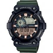 Relógio Casio AEQ-200W-3AVDF Cronômetro Alarme Hora Mundi