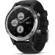 Relógio com GPS Garmin Fênix 5 Plus Preto/Prata - Smartwatch Multiesportivo com Música