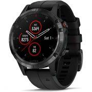 Relógio com GPS Garmin Fênix 5 Plus Preto Safira - Smartwatch Multiesportivo com Música