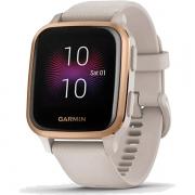 Relógio GPS c/ Monitor Cardíaco Pulso Garmin VENU SQ Music Bege