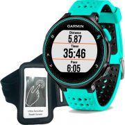 Relógio GPS Frequencímetro de Pulso Garmin Forerunner 235 Azul Gelo/Preto + Braçadeira Celular