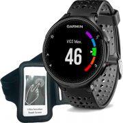 Relógio GPS Frequencímetro de Pulso Garmin Forerunner 235 Preto/Cinza + Braçadeira Celular