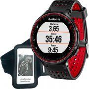 Relógio GPS Frequencímetro de Pulso Garmin Forerunner 235 Preto/Vermelho + Braçadeira Celular