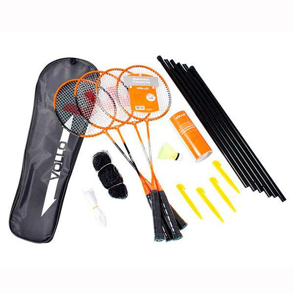 Kit Badminton VOLLO 4 Raquetes 3 Petecas de Nylon Rede e Suporte VB004  - Loja Prime