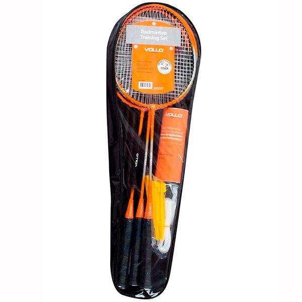 Kit Badminton VOLLO 4 Raquetes 3 Petecas de Nylon Rede e Suporte VB004  - TREINIT