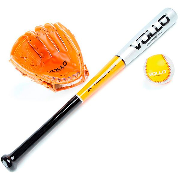 Kit Baseball Júnior VOLLO Taco Luva e Bola  - Loja Prime