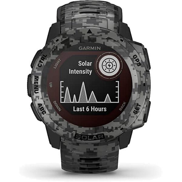 Monitor Cardíaco de Pulso GPS Garmin Instinct Solar CAMO-Grafite  - TREINIT