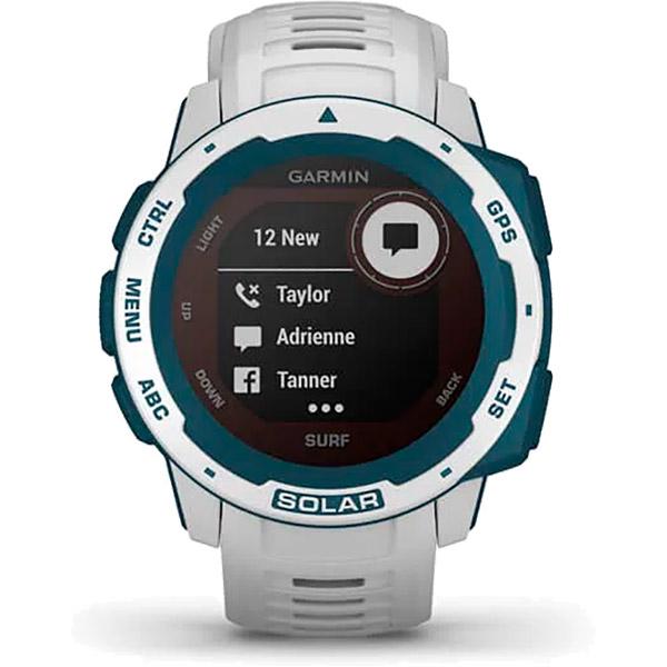 Monitor Cardíaco de Pulso GPS Garmin Instinct Solar Surf Branco  - TREINIT