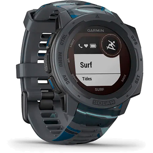 Monitor Cardíaco de Pulso GPS Garmin Instinct Solar Surf Preto  - TREINIT